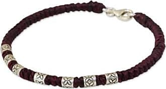 Novica Silver accent wristband bracelet, Happy Flower in Maroon