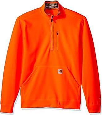 Carhartt Work in Progress Mens Force Extremes Mock-Neck Half-Zip Sweatshirt (Regular and Big & Tall Sizes), Hunter Orange, Small