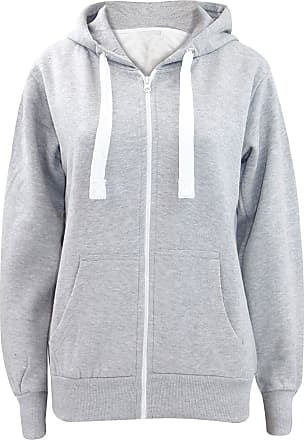 Womens Fleece PLAIN Colour ZIP HOODIE Zipper Small Sizes UK 8 Hooded Sweatshirts