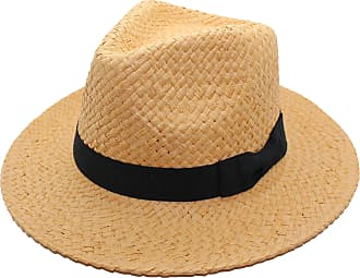 Tom Franks Unisex Paper Straw Crushable Foldable Summer Panama Fedora Hat with Black Band (L/XL, Light Brown)