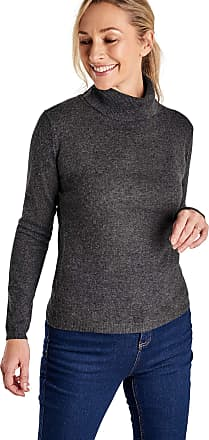 WoolOvers Ladies Cashmere and Merino Fitted Polo Neck Knitted Sweater Dark Charcoal, L