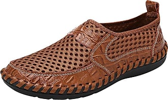 Daytwork Men Casual Leather Loafers - Mens Hollow Out Slip On Driving Boat Shoes Breathable Handmade Round Toe Moccasins Lightweight Brown