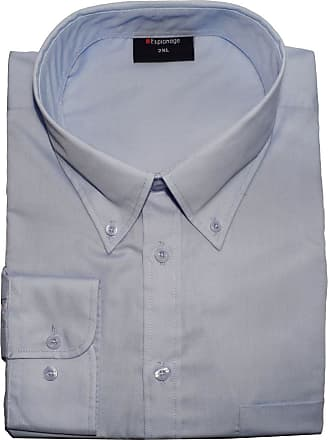 Espionage Big Size Mens Cotton Rich Long Sleeve Plain Shirt (150) in Light Blue in 5XL