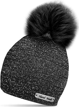 TOSKATOK Ladies Womens Girls Rockjock Hand Made Knit Glitter Winter Bobble Beanie Hat with Faux Fur Pom Pom Black