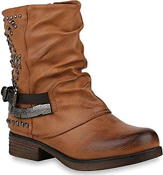 Damenschuhe Stiefeletten Biker Boots flache Winterschuhe Nieten Stiefel  Booties