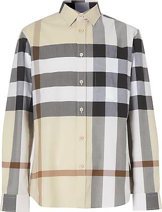 Burberry Camisa xadrez de algodão com acabamento engomado - Neutro