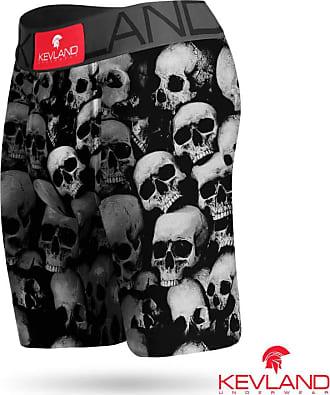Kevland Underwear Cueca Boxer Long Leg Kevland Black and White Skulls Tamanho:GG;Cor:Preto