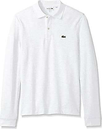 01a5fdeb Lacoste Mens Long Sleeve Classic Slim FIT Pique Polo, White, XXX-Large