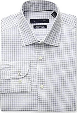 2f911ee07 Tommy Hilfiger Mens Dress Shirt Slim Fit Stretch Check, Ocean Mist, 16.5  Neck 32