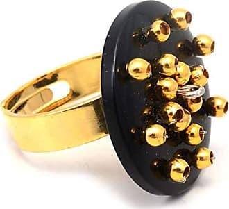Tinna Jewelry Anel Dourado Resina E Bolinhas (Preto)