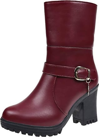 Generic Women Ankle Boot Round Toe Casual Buckle Ladies Winter Shoes Warm Waterproof Square Heel Zip Snow Boots Red