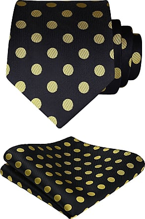 Hisdern Dot Floral Wedding Tie Handkerchief Mens Necktie & Pocket Square Set, One Size, Yellow / Black