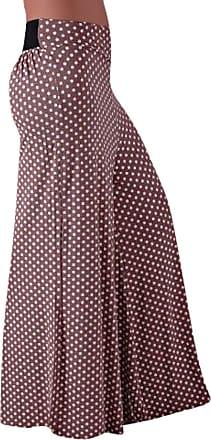 Eyecatch EyeCatchClothing - Polka Dot Cool Spotty Flared Palazzo Trousers Mocha S/M