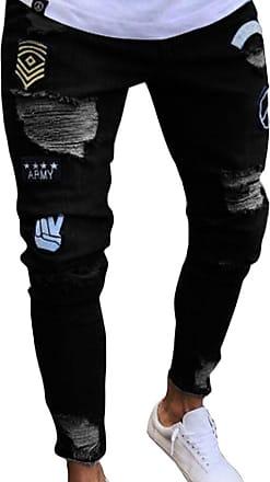 junkai Mens Hiphop Streetwear Jeans Ripped Stretch Zipper Trousers Distressed Holes Denim Black 2XL