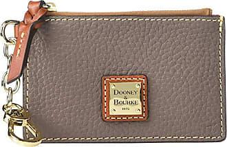 Dooney & Bourke Pebble Zip Top Card Case (Elephant/Tan Trim) Credit card Wallet