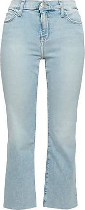 Current Elliott Current/elliott Woman Cropped Faded Mid-rise Bootcut Jeans Light Denim Size 23