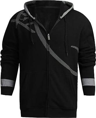NPRADLA Mens Autumn Winter Plus Size Printed Shoulder Leisure Jacket Collar Casual Long Sleeve Hooded Coat Hoodies Sweatshitt Tops Black