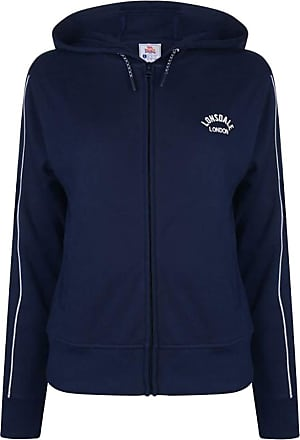 Lonsdale Womens Long Line Zip Hoodie 2 Open Front Pockets (Navy, 12 (M))