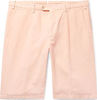 Loro Piana Slim-fit Pleated Cotton And Linen-blend Bermuda Shorts - Peach