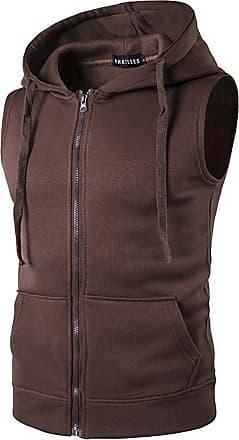 Whatlees Mens Solid Sleeveless Zip Up Hoodie Vest Sports Casual Brown 02020007XBrown+L