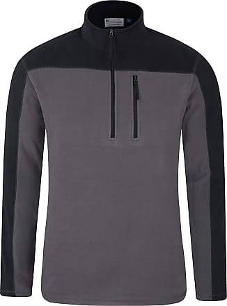 Mountain Warehouse Argyle Mens Half Zip Fleece Top - Quick Drying Sweater, Breathable, Microfleece Pullover, Chest Pocket - for Winter, Holidays Dark Grey XS