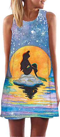 Ocean Plus Womens Sleeveless Vintage Boho Beach Dress Sundress Tank Tops Beach Dress Round Neck Short A Line Shirt Dress Blouse Dress (XXL (UK 14-16), Mermaid Un