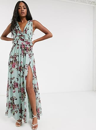 Asos pleat bodice maxi dress with raw edge detail in floral print-Multi