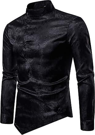 Whatlees Mens Vintage Long Sleeve Baroque Design Button Down Casual Dress Shirts Slim Fit Black 02010201XBlack+S
