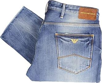 Emporio Armani J06 Slim Fit Light Wash Hard Denim Jeans W40 - L32 Blue