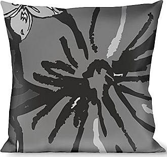 Buckle Down Pillow Decorative Throw Hibiscus Collage Gray Shades