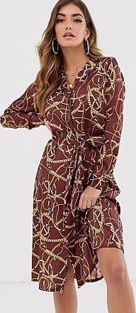 NA-KD Hemdkleid mit Kettenprint-Mehrfarbig