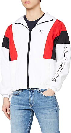 Calvin Klein Jeans Mens Color Block Track Jacket, White (Bright White/Black Yaf), X-Large (Size:XL)