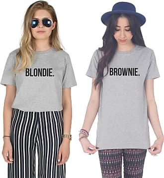 Sanfran Clothing Sanfran - Blondie Brownie Top Funny Matching Besties BFF Heart T-Shirt - Medium & Small/Light Grey