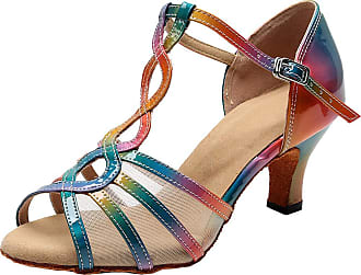Find Nice Ladies T-bar Latin Tango Ballroom Party Show Ankle Straps Custom Dance-Shoe Multicolor 8.5 UK