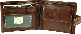 Visconti Gents Italian Leather Wallet for Banknotes, Credit Cards & Coins - MZ5 (Brown)