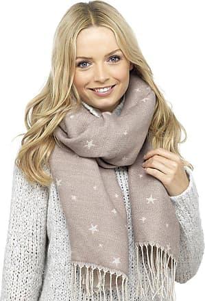 Foxbury Ladies Woven Reversible Blanket Scarf with Stars Beige