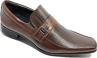 Calvest Sapato Social Calvest Em Couro Com Textura Masculino - Marrom - 37