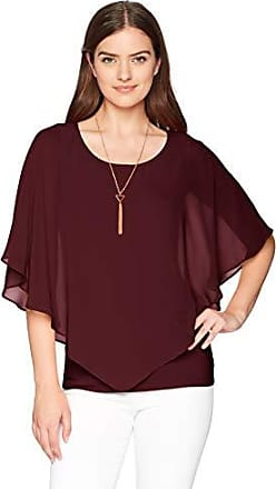 AGB Womens Plus-Size V Front Popover Top with Necklace
