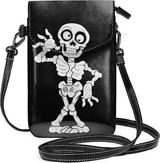 NA Small Cell Phone Purse For Women Leather Funny Skull Insides Card Slots Crossbody Bags Wallet Shoulder Bag