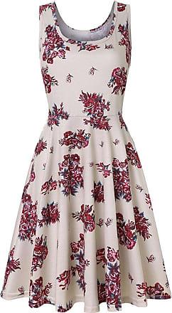 QUINTRA Women Summer Vintages Sleeveless Beach Bohe Casual Floral Tank Short Mini Dress (M, White)