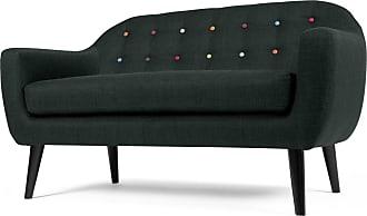 MADE.COM Ritchie 2-Sitzer Sofa, Anthrazit mit bunten Knoepfen