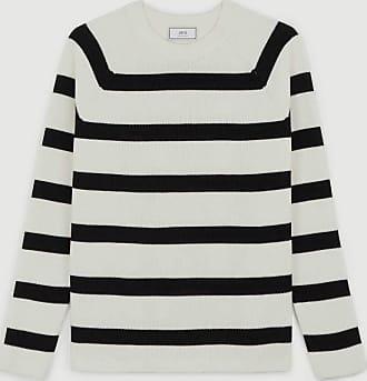 Ami Strickpullover aus Baumwolle mit schwarzen Streifen - medium | wool | green white