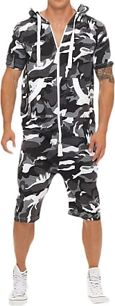 Generic Mens One Piece Camouflage Non Footed Pajama Hooded Romper Jumpsuit 1 L