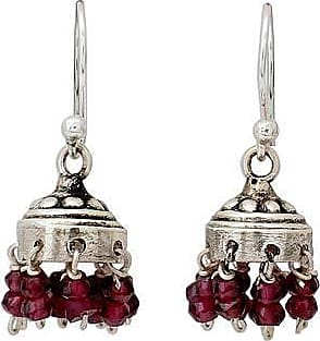 Novica Jhumki Style Earrings with Sterling Silver and Garnets Traditional Grace