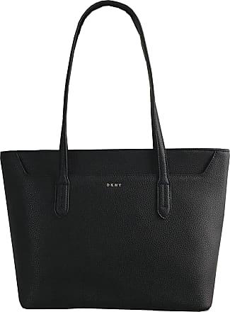 DKNY Medium Black Leather Shoulder Tote Bag