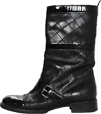 ad0dd350032 Chanel Black Quilted Leather Buckle Boots W  Patent Toe Sz 38