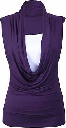 ZEE FASHION New Womens Cowl Gathered Neckline Contrast Insert Ladies Sleeveless Stretch Long Vest T-Shirt Top UK 8-26 Purple
