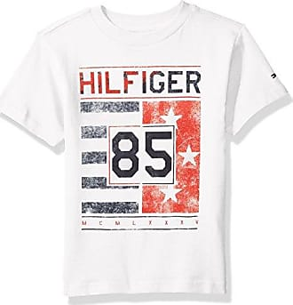 a0c7eca00 Tommy Hilfiger Boys Little Short Sleeve Crew Neck Flag Graphic T-Shirt,  White,