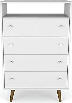Manhattan Comfort 209BMC6 Liberty Modern 4 Drawer Bedroom Dresser and TV Stand, White