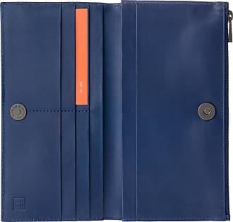 DuDu Portafoglio Donna Grande in Vera Pelle con Bottone Magnetico e Zip Design Sottile Porta Carte Blu